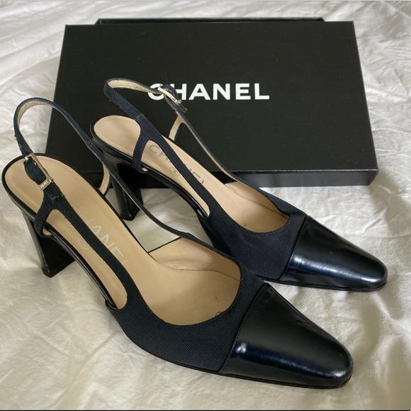 CHANEL Shoes - Chanel Black canvas strap heel